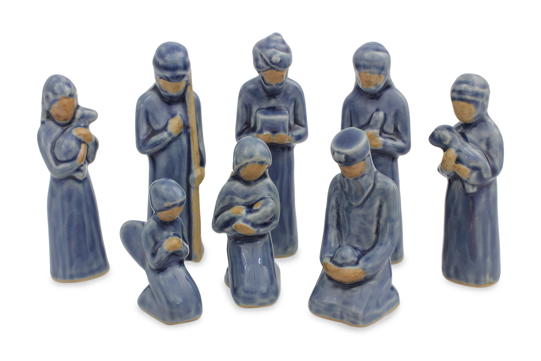 unicef market handcrafted celadon ceramic nativity set from