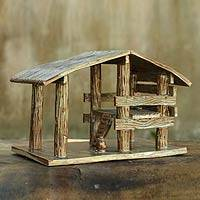 Ceramic statuette, 'Nativity Stable II' - Ceramic Stable for Nativity Scene