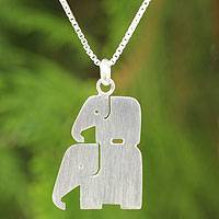 Sterling silver pendant necklace, 'Elephant Brothers' - Modern Silver Thai Elephant Necklace