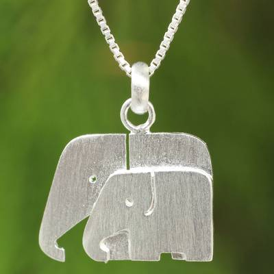 Sterling silver pendant necklace, 'Side by Side' - Brushed Silver Thai Elephant Necklace