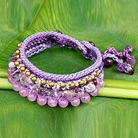 Amethyst wristband bracelet, 'Lavender Dreams' - Crocheted Wristband Bracelet with Amethyst Jewelry