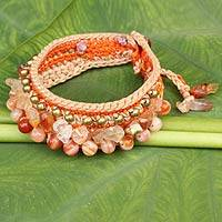 Carnelian wristband bracelet, 'Orange Dreams' - Crocheted Wristband Bracelet with Carnelian Jewelry