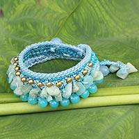 Amazonite wristband bracelet, 'Cerulean Dreams' - Amazonite Crocheted Wristband Bracelet Artisan Jewelry