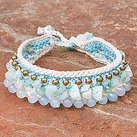 Amazonite wristband bracelet, 'Ice Dreams' - Amazonite Crocheted Wristband Bracelet Artisan Jewelry