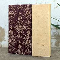 Saa paper journal, 'Brown Floral' - Thai Brown Saa Paper Covered Journal