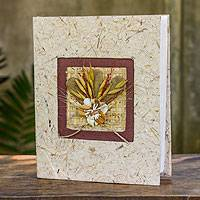 Saa paper photo album, 'Brown Bouquet' - Artisan Crafted Brown and Beige Saa Paper Photo Album