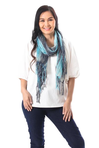 Cotton batik scarf, 'Azure Paths' - Blue and White Cotton Batik Scarf