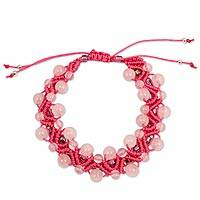 Rose quartz wristband bracelet,