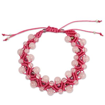 Artisan Crafted Rose Quartz Wristband Bracelet
