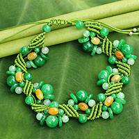 Jade wristband bracelet, 'Green Whispers' - Jade Bracelet Artisan Crafted Jewelry
