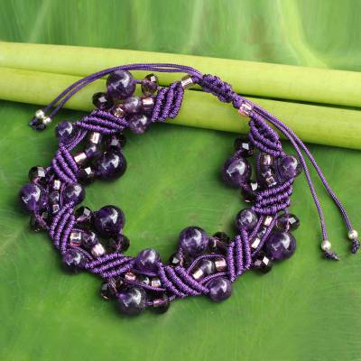 Amethyst wristband bracelet, 'Purple Whispers' - Amethyst Bracelet Artisan Crafted Jewelry
