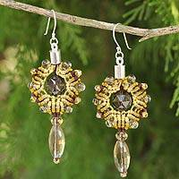 Smoky quartz dangle earrings, 'Golden Thai Sun' - Smoky Quartz Handcrafted Macrame Earrings
