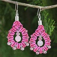 Rose quartz dangle earrings, 'Siam Serenade' - Artisan Crafted Rose Quartz Macrame Earrings
