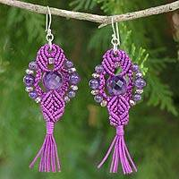Amethyst dangle earrings, 'Purple Majesty' - Crocheted Amethyst Earrings Artisan Crafted Jewelry