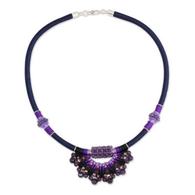 Crocheted Amethyst Necklace Artisan Crafted Jewelry