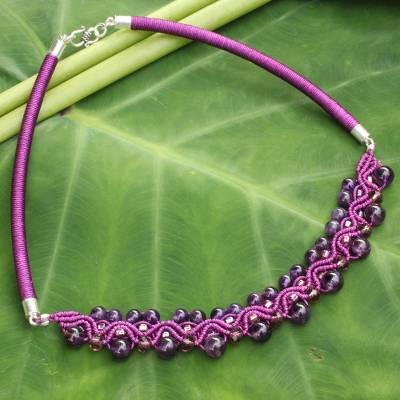 Amethyst collar necklace, 'Let's Dance' - Handcrafted Amethyst Macrame Necklace