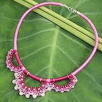 Rose quartz collar necklace, 'Goddess' - Handcrafted Rose Quartz Macrame Necklace