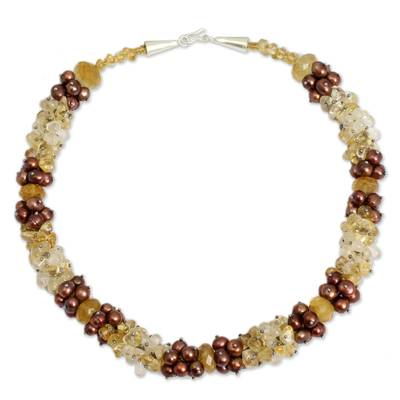 Brown Pearls and Citrine Handcrafted Necklace