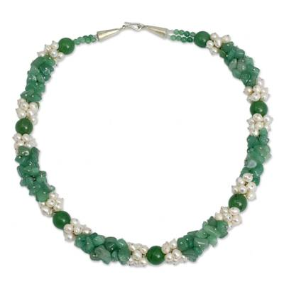 Pearl and Green Quartz Handcrafted Necklace