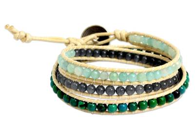 Thai Hand Knotted Amazonite and Quartz Wrap Bracelet