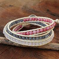 Rhodonite and quartz wrap bracelet, 'Beautiful Life' - Thai Hand Knotted Rhodonite and Quartz Wrap Bracelet