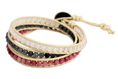 Thai Hand Knotted Rhodonite and Quartz Wrap Bracelet