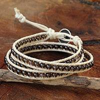 Smoky quartz wrap bracelet, 'Subtle Sigh' - Thai Hand Knotted Smoky Quartz Wrap Bracelet