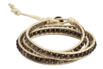 Thai Hand Knotted Smoky Quartz Wrap Bracelet