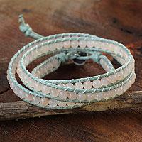 Pink aventurine wrap bracelet,