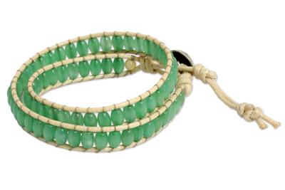 Thai Hand Knotted Green Quartz Wrap Bracelet