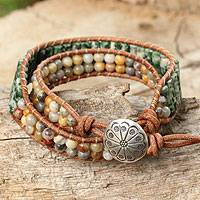 Agate and jasper wrap bracelet, 'Cool Breeze' - Thai Hand Knotted Agate and Jasper Wrap Bracelet