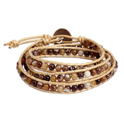 Thai Hand Knotted Agate Wrap Bracelet