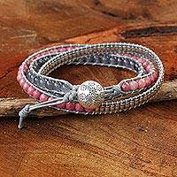 Rhodonite wrap bracelet, 'Beautiful Thoughts' - Thai Hand Knotted Rhodonite and Quartz Wrap Bracelet