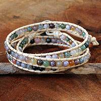 Jasper wrap bracelet, 'Enchanted Color' - Hand-Knotted Wrap Bracelet with Multicolored Jasper