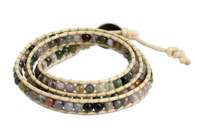 Hand-Knotted Wrap Bracelet with Multicolored Jasper
