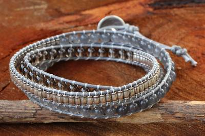 Smoky quartz wrap bracelet, 'Hill Tribe Mist' - Thai Handmade Smoky Quartz Bracelet with Hill Tribe Silver