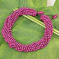 Wood torsade necklace, 'Ping Belle' - Hot Pink Torsade Necklace Wood Beaded Jewelry