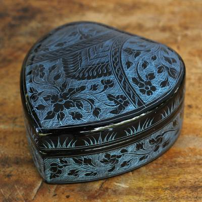 Lacquered wood box, 'Blue Floral Heart' - Thai Blue and Black Lacquered Wood Heart Box