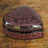 Lacquered wood box, 'Pink Floral Heart' - Thai Pink and Black Lacquered Wood Heart Box