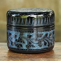 Lacquered wood box, 'Exotic Blue Flora' - Handcrafted Lacquerware Box from Thailand