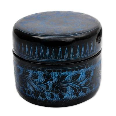 Lacquered wood box, 'Exotic Blue Flora' - Round Decorative Box Handcrafted Lacquered Wood