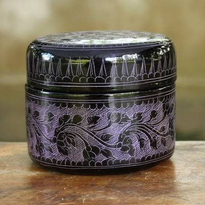 Lacquered wood box, 'Exotic Purple Flora' - Handcrafted Lacquered Wood Round Decorative Box