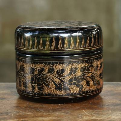 Lacquered wood box, 'Exotic Golden Flora' - Round Decorative Box Handcrafted Lacquered Wood