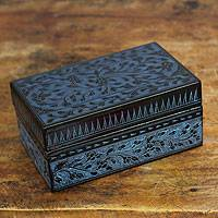 Lacquered wood box, 'Blue Thai Fantasy' - Floral Decorative Box in Handcrafted Lacquered Wood
