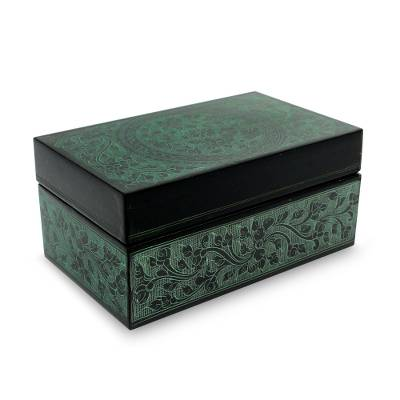 Lacquered wood box, 'Jade Bouquet' - Green on Black Lacquered Decorative Box