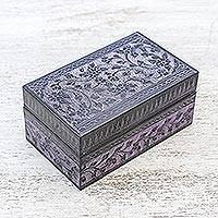Lacquered wood box, 'Blossoming in Purple' - Handcrafted Lacquered Wood Decorative Box