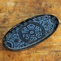 Lacquered wood catchall tray, 'Floral Medallion' - Blue on Black Lacquered Catchall Tray