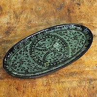 Lacquered wood catchall tray, 'Florid Fantasy' - Green on Black Lacquered Catchall Tray