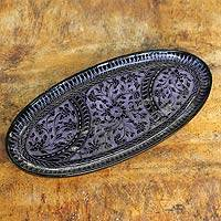 Lacquered wood catchall tray, 'Purple Wilderness' - Purple on Black Lacquered Wood Catchall Tray