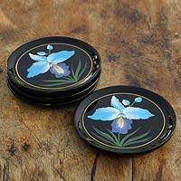 Lacquered wood coasters, 'Blue Orchid' (set of 4) - Hand-painted Lacquered Wood Coasters (set of 4)